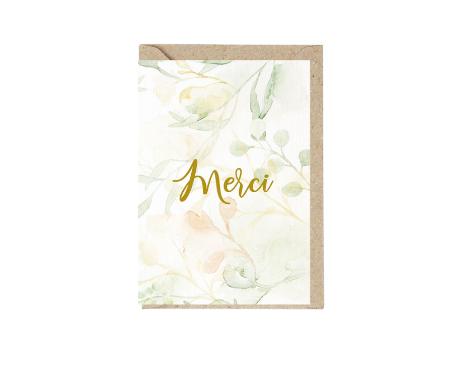 MERCI Grusskarte mit Umschlag und Wachssiegel
