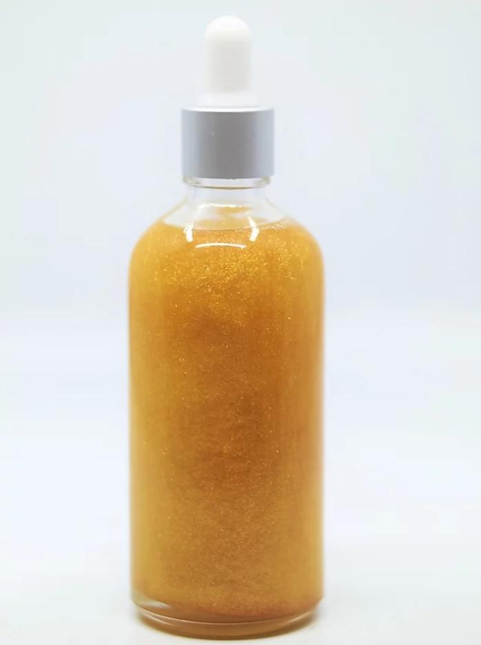 Champagner Körperöl mit ökologischem Glitzern