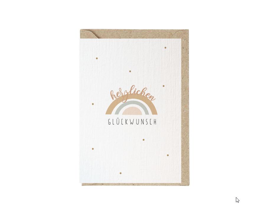 Regenbogen Grusskarte mit Umschlag und Wachssiegel